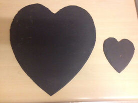 6 table placements slate heart shape with 4 matching coasters
