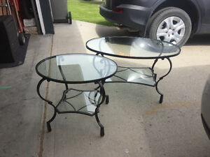Glass and rod iron Coffee and side/end table