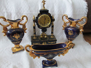 LIMOGE  Clock and vases