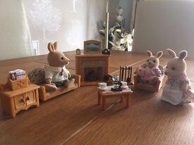 Sylvanian families, kangaroo family and living room set