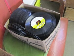 2 BOXES OF 1960s -70s 45 RPM RECORDS BEATLES DOORS ZOMBIES $1 EA