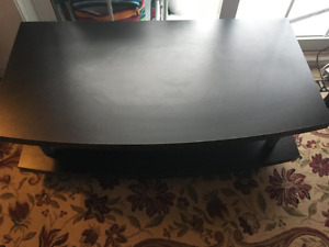 Black tv stand with wheels