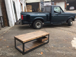 2 inch Slab and Steel Coffee table w/ Pull out Crate Shelf London Ontario image 9