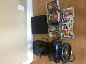 PS3 Console with 4 controls 20 games and Steering Wheel