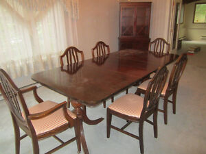 Antique large dining table with 6 chairs