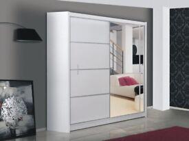 🚚🚛 High Gloss Wardrobe 🚚New Marsylina Full Mirror Sliding Door Wardrobe in Black and White Color