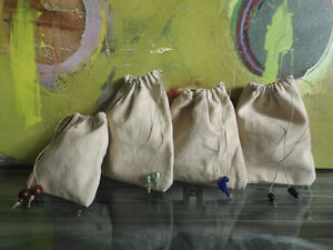 Handcrafted Drawstring Hemp Pouches (Large)