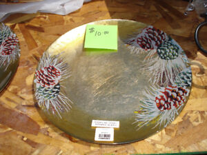 Large Gold Christmas Plate