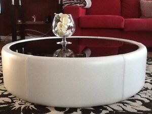 Modern Leather Glass Top Coffee Table