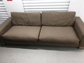 Free Delivery 4 Seater brown fabric sofa with chrome feet