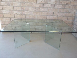 MODERN ALL GLASS COFFEE TABLE - $200