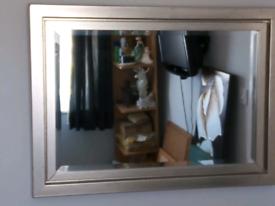 Double framed rectangular silver coloured mirror