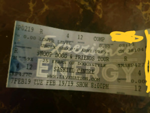 Snoop Dog&Friends25Years Of DoggyStyle TourLowerLevel Row4Seat14