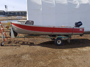 14 ft aluminum boat /trailer and tohatsu 6 hp ONLY 5HRs !!