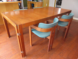 Teak Dining Table, 4 Chairs and Hutch