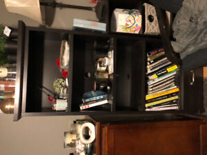 MOVING SALE! Dark wood bookshelf with 4 shelves and a drawer