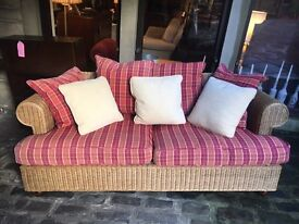 Rattan 3 Seater Sofa with Tartan & Cream Cushions - Matching Item Avail - CAN DELIVER