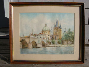 Large Water Color Painting Framed Glass Covered