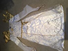 Kids Christmas Angel fancy dress with gold wings costume .