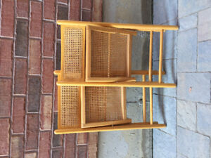 Pair of vintage cane and wood folding bentwood chairs
