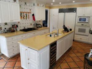 Armoires de cuisine, réfrigérateur, lave-vaisselle, four