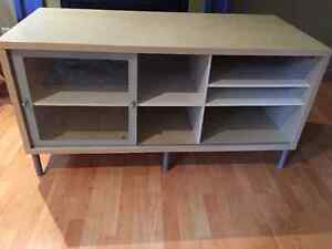 IKEA coffee table and tv stand with shelving