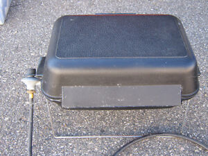 O.B.O. -- SMALL BLACK PORTABLE GAS BBQ with BBQ BRICKS & COVER