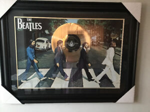Huge Beatles Abbey Road framed 3D poster with Gold LP