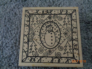 Christmas Snowman Rubber Stamp....used once