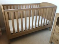 Mothercare Padstow Cot Bed In Oak Effect With Mattress - Excellent Condition
