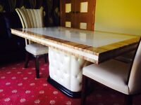 100% Marble Stone Dining Table With 6 Designer Chairs
