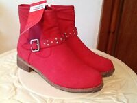 Heavenly feet red ankle boots NEW size 39 uk6