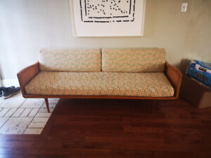 70's Danish Modernist Couch. Good condition, wood legs and frame