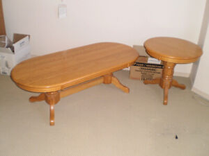 Solid Oak Coffee Table & End Table and Oak Entertainment Cabinet