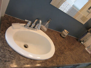 "5' 2"" Bathroom counter top, china sink and faucets"