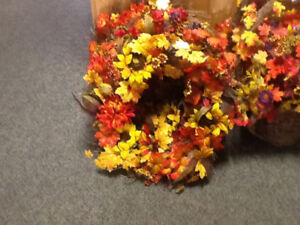 Fall wreaths and hanging arrangement