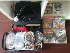 PS3 320GB- 2 controllers and motion camera along with 18 games