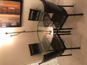 DINING GLASS TABLE + 4 CHAIRS + 2 GLASS TALL VASE ( 5 PIECS SET