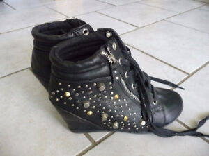 For sale..Nice pair of black studded wedge shoes.
