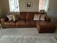 DFS ANALINE LARGE RIGHT CHAISE CORNER LEATHER SOFA AND CHAIR