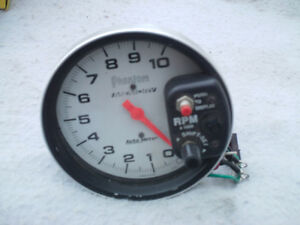 "5"" MONSTER PHANTOM WHITE FACE TACHOMETER 10,000 RPM"