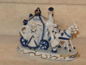 Porcelain Coach, Horses, Lady and Man Ornament