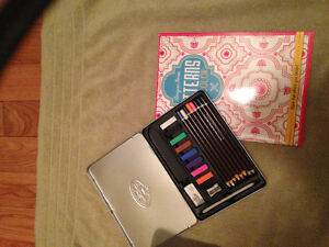 NEW designer coloring book + Pastels in metal case