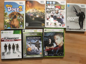 Xbox 360 and wii games. $5 each