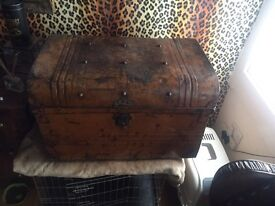 Vintage brown tin trunk