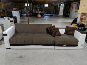 4 Piece White Leather and Brown Fabric Couch