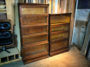 ANTIQUE OAK BARRISTER BOOKCASES (2)