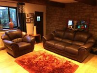 Brown Leather Three Seater Sofa + Armchair