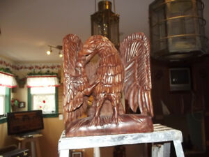 Carved  mama   wooden  eagle