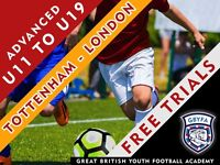Free Football Trials - New U11 to U19 sessions announced at GBYFA Tottenham venue